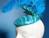 Aqua and Turquoise Sequin Fashion Hat:  Elegant Fascinator Whimsy Design for Church or Gatsby