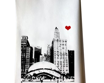 Chicago Bean tea towel