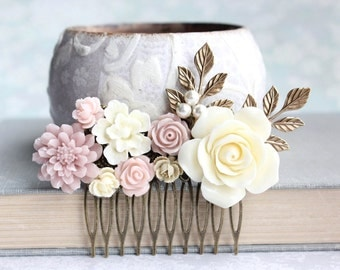 Blush Bridal Hair Comb Dusty Rose Pink Ivory Cream Flowers For Hair Soft Pink Ecru Floral Hair Piece Vintage Inspired Romantic Country Chic