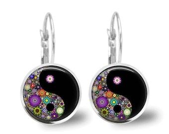 Ying Yang Earrings Tile Earrings Millefiori Jewelry Ying Yang Jewelry Tile Jewelry Silver Jewely Silver Earrings Beaded Jewelry Yin and Yang