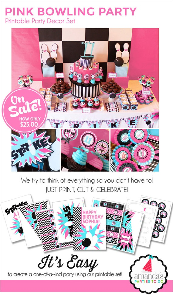 Bowling Party | Girl Bowling Birthday | Pink Bowling Party Printables | Bowling Decorations | Teen Girl Birthday | Amanda's Parties To Go
