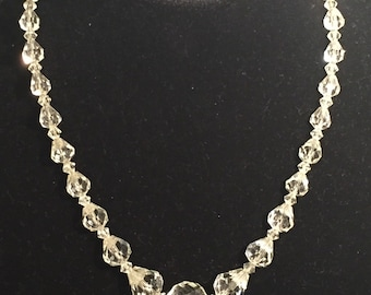 Vintage Art Deco Rock Crystal Faceted Tear Drop Bead Necklace on Sterling Silver Chain