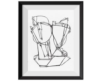 ORIGINAL Line Drawing, Black and White, Pen and Ink, Ink on Paper, Black Line Drawing, Fine Line, Fine Art, Abstract Art Drawing, 9x12 inch