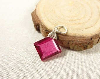 LOT 1S - Hot Pink Quartz Jewelry - Sterling Silver Wire Wrapped - Hot Pink Jewelry - Hot Pink Pendant - Bright Pink Gemstone Charms