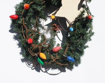 Vintage Christmas Wreath Rustic Wood Star Vintage Light Strand Hand Crafted Hand Made Rustic Farmhouse Barn Cottage Style Wreath OOAK
