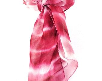 Tye Dye Pink scarf Pink silk scarf Fashion scarf Handpainted scarf Tie dye scarf Hand dyed scarf Silk scarf Lightweight scarf Indian scarf