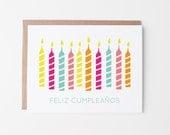 Birthday Greeting Card   Feliz Cumpleaños   Spanish   Happy Birthday   Candles