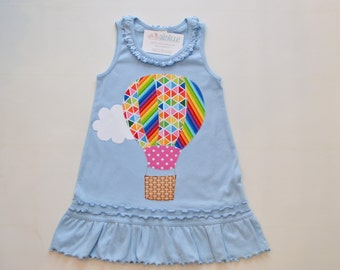 Size 6x Girls Hot Air Balloon Dress, Sky Blue Tunic, Fits Like 5T 6, Birthday Dress, Summer, Rainbow Applique, Tank Top, Ready to Ship