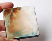 "Abstract Painting: 2x2"" Mini Original Art, Abstract Art, Original Art, Mixed Media Art, small artwork, tan, white, aqua, teal, ""Fluid"""