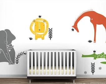 Royal Safari Wall Decal Mural by LittleLion Studio. Elephant, Lion, Giraffe, Crocodile and Tropical Grasses Wall Stickers
