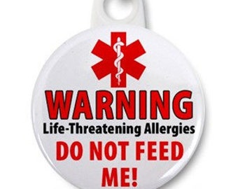 Do Not Feed Me Food Allergy Warning Alert Zipper Pull Charm (Choose Size and Backing Color)