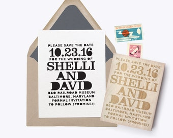 "Custom ""Stenciled"" Save the Date Rubber Stamp"