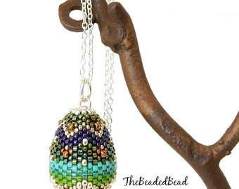 Sale Necklace reduced 30% - Faberge Style Beaded Egg Pendant