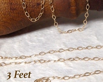 Gold Filled Cable Chain - 3 Feet - Drawn and Flattened Gold Chain - Footage - Unfinished - 3.5 x 2.25 CH18-3ft