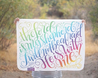 Baby Swaddle - The lord is my shepherd, I will not be afraid - PSLAM 23 - Rainbow baby
