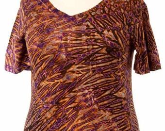 XXL Shibori Tie Dye Women's V Neck T Hand Dyed Purple Black