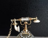 hollywood regency french style rotary push button telephone // white gold