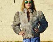 gray bold shouldered petite fit xs cozy rock and roll rabbit fur bomber jacket boho rabbit fur coat vintage fur coat 1980s 1990s grunge cool