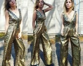 metallic gold disco bell bottom jumpsuit sparkle hippie bohemian glamour one piece jumper romper playsuit shiny glitter cocktail party