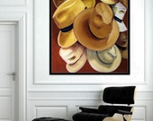 "Hats off, Panama Borsalino, Brown,  Original large size Painting on Canvas, 48""x50"", Wall Art Home Decor, Free Shipping in USA."