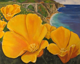 "Poppies in BIG SUR, Highway 1, Bixby Creek Bridge, California coast, Original large size painting, 56""x56"", Free shipping in USA."