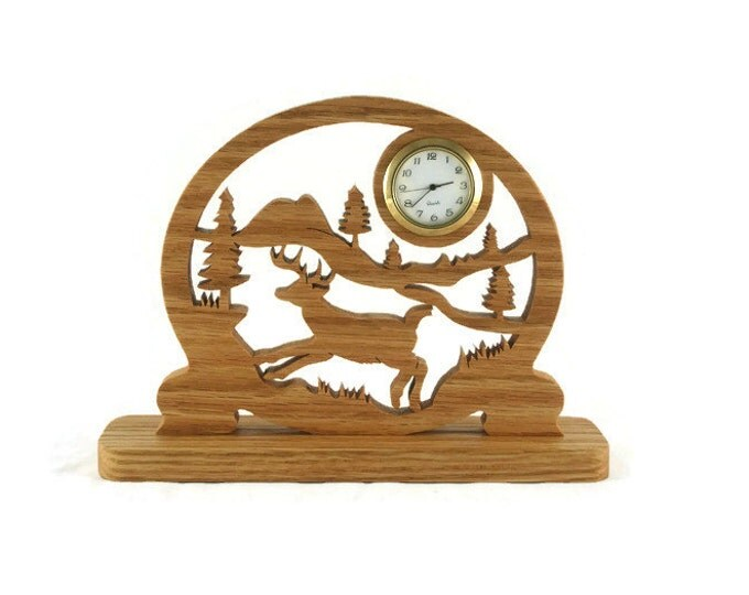 Deer Country Scene Desk Clock Handmade From Oak Wood By KevsKrafts