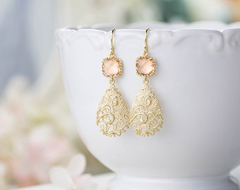 Peach Earrings Peach Wedding Earrings Gold Paisley Filigree Earrings Bridal Earrings Wedding Jewelry Bridesmaid Gift Bridesmaid Earrings