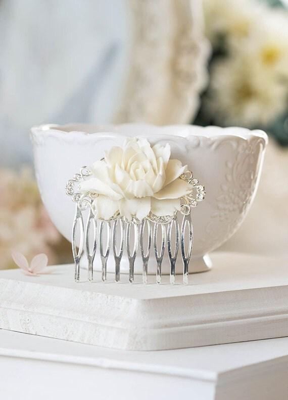Silver Bridal Hair Comb, Cream White Rose Flower Wedding Hair Comb, Floral Wedding Hair Accessory, bridal headpiece, Bridesmaid Gift
