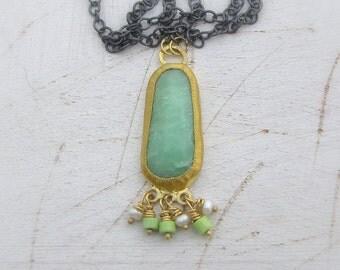 Chrysoprase & 24k Gold Necklace - Fine Gold Pendant - Chrysoprase pendant on Oxidized Silver Chain