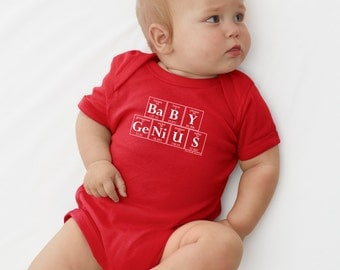 Chemistry Onesie - BABY GENIUS Periodic Table Creeper by Periodically Inspired (Red)