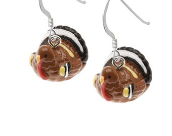 3-D Hand Painted Turkey Earrings, Qty: 1pair