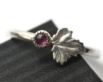 Rhodolite Garnet Ring, Tiny Garnet Ring, Silver Grape Leaf Ring, 3mm Natural Purple Gemstone Berry Ring, Asymmetrical Statement Jewelry