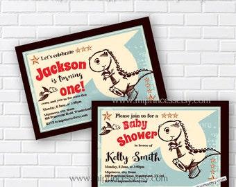 Dinosaur baby shower Invitation, boy birthday invitation, hand drawn dinosaur baby shower party invitation vintage design  - card 215