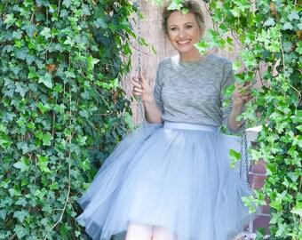 Light grey tulle skirt, bridesmaid tulle skirt