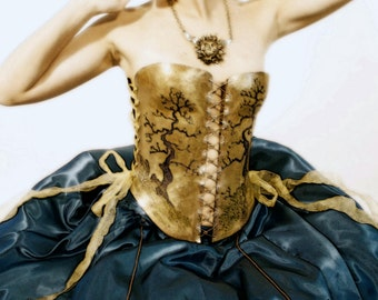 Burlesque Dress Costume Clothing Metal Corset Masquerade Steampunk Fetish Gown