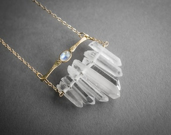 Moonstone and Quartz Crystal Necklace