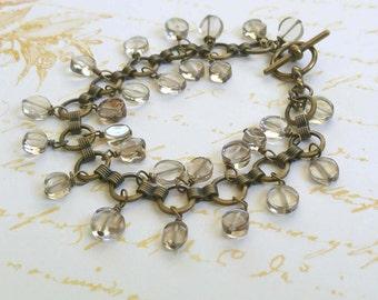 Smoky Quartz Gemstone Bracelet on Antiqued Gold-Plated Brass Link Chain