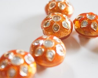 SALE  Sunny Orange floral spheres - Floral Cloisonné Meena and kundan beads (2) 20 mm