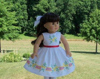 "Summer Embroidered Dress /  Clothes for American Girl Maryellen, Kit or other 18""  Dolls"