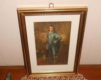 Vintage Framed Print Blue Boy Picture - Wall Decor