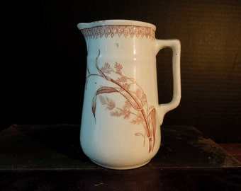 Vintage / Antique Brown Transferware Small Pitcher / T & R Boote Creamer / Aesthetic / English Transferware / Summertime Pattern