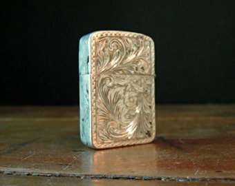 Vintage 800 Silver Etched Lighter Holder / Match Safe / Matchbox / Vintage Lighter Case / Etched Flowers and Leaves