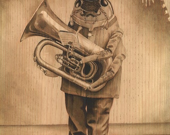 Euphoniumist in Full Regalia, insect art print, beetle, cabinet card, vintage portrait, marching band, bass trumpet