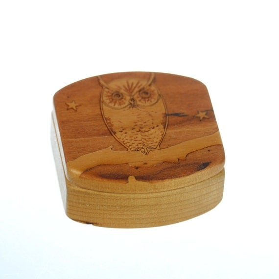 "Owl Wooden Box, Solid Cherry, Mini Box, Pattern MS13 Owl, 1-3/4""L x 1-7/8""W x 7/8""D, Paul Szewc"