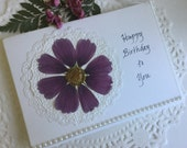 Birthday Card - Pressed Flower Greeting Card For Her Birthday Real Cosmos Bloom And Half Pearls