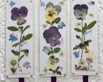 Pansy Bookmarks - pressed flower bookmarks, laminated bookmarks, little pieces of art, keepsake gifts