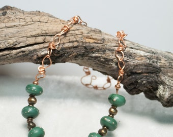 "Green Artisan Lampwork Necklace on Copper Art Chain metallic Brown Freshwater Pearls- Series 6 ""Down to Earth"" - Art Jewelry"