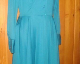 Vintage, Kelly Green Dress w/Matching Belt, Size 10
