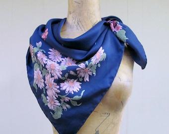 Vintage 1970s Scarf / 70s Francoise Guerin Paris Silk Floral Scarf