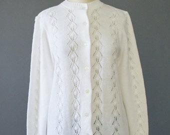 SALE - 60s Cardigan - White Cardigan - 1960s Sweater - Pointelle Knit Sweater - Granny Sweater - White Sweater - 1960s Cardigan M/L